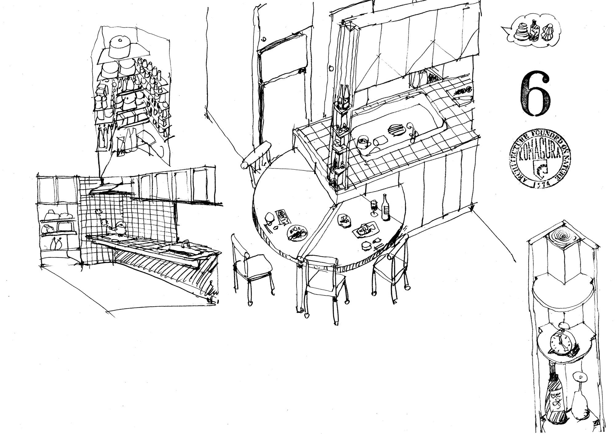 タイルのキッチン 造り付けテーブル