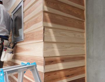 新しい杉板(西川材)が、初々しくて眩しい!の画像