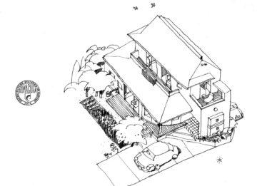 【加治丘陵の麓の家】設計事務所の家づくり イラストパースの画像