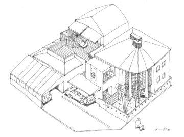 【職住近接の暮らし (既存減築工場+新築住宅) 多角形の2階リビング】 イラスト/間取り計画案の画像